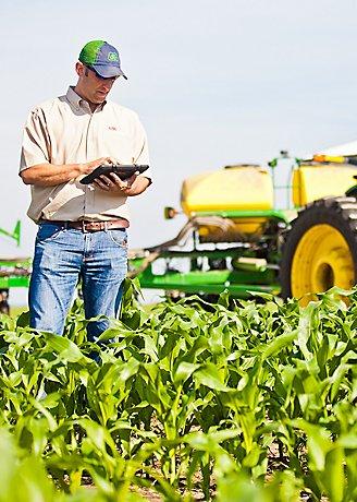 Corn field with Farmer