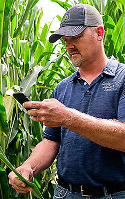Photo - Customer using agronomy app - field photo