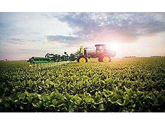 combine spraying field