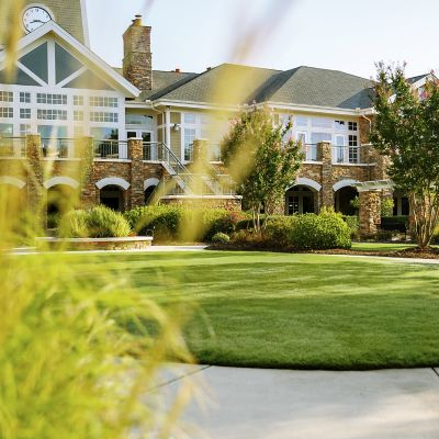 Golf clubhouse building with beautiful landscaping