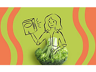Drawing of a woman looking at a food label.