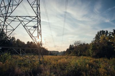 a sunset with utility row