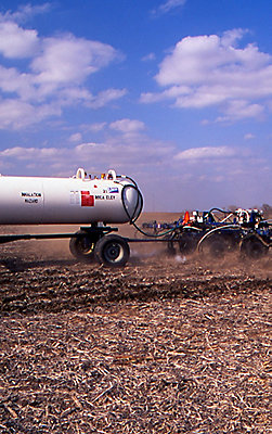 Tractor applying anhydrous in fall