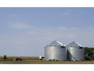 Grain bins on the horizon