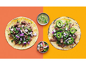 Two Tacos and Two Salsas on a Brightly Colored Background