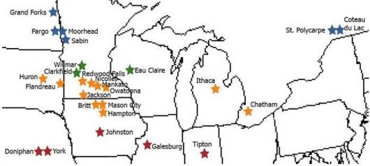 Central (red), north-central (orange), northern (green), and far-northern (blue) research sites for Pioneer planting date studies from 1987-2004.