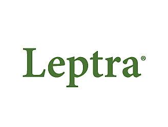 Logotipo da tecnologia Leptra escrito em verde.
