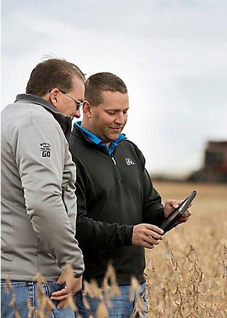 Inspecting harvest soybean field