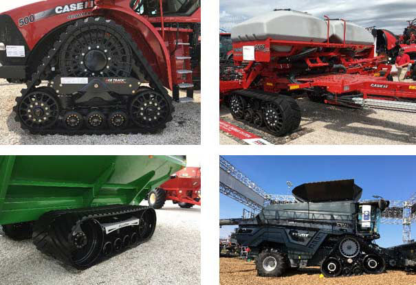 Photos showing examples of some of the numerous factory and aftermarket track options on display at the 2018 Farm Progress Show.