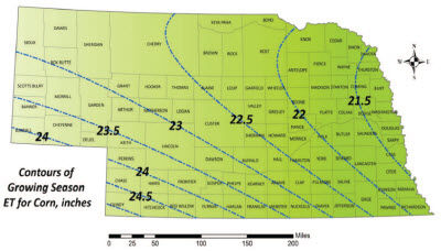 Map: Average seasonal ET for corn in Nebraska