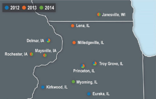 Map: Research locations in Illinois, Iowa and Wisconsin.