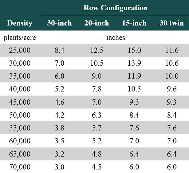 Table showing minimum distance between adjacent corn plants in 30-inch, 20-inch, 15-inch, and 30-inch twin row configurations over a range of plant densities.