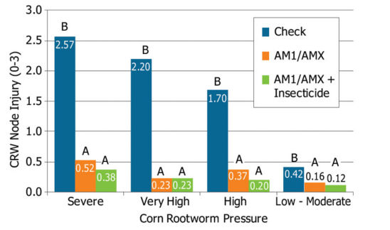 Corn rootworm injury (NIS scores) observed with AM1/AMX products, AM1/AMX products + soil-applied insecticide and no CRW protection (check) in 2013 on-farm trials.
