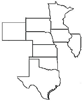 Map showing states with confirmed cases of corn bacterial leaf streak.