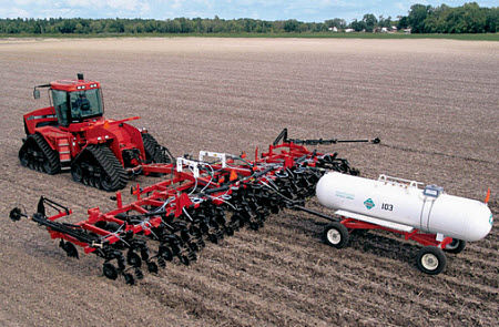 Application of anhydrous ammonia to field previously in soybeans.