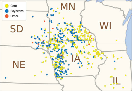 Previous crop at corn rootworm beetle trapping locations in 2016.