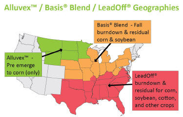 U.S. map of Alluvex™ / Basis® Blend / Leadoff® geographies.