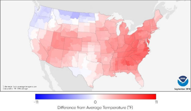U.S. map showing September 2018 temperature deviation from average (1981-2010).