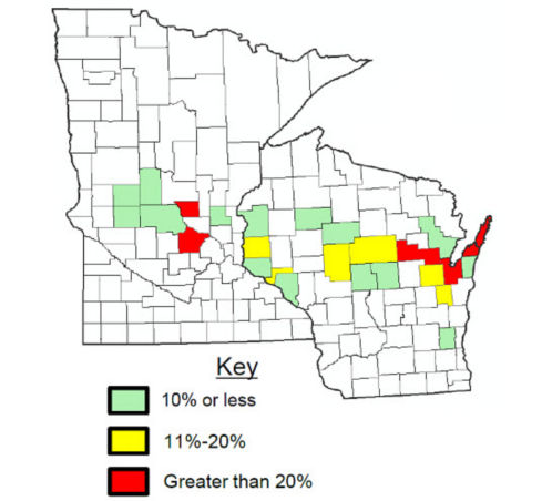 Average estimated % of field winterkill by county in 2017 Alfalfa Assessment.