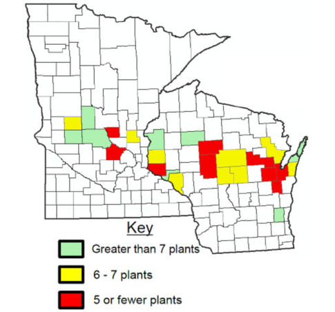 Average viable plants per square foot by county in 2017 Alfalfa Assessment.