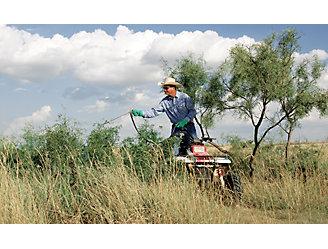Farmer spraying