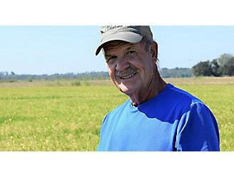 Fontenot in rice field