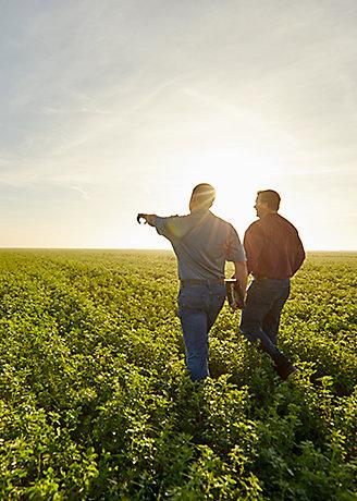 Imagen de dos personas en el campo