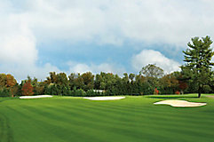 Image of a golf course with sand traps