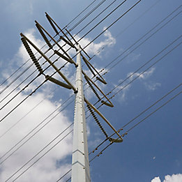 Image of power lines in a blue sky