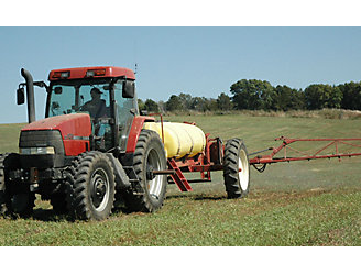 picture of a ground broadcast herbicide application