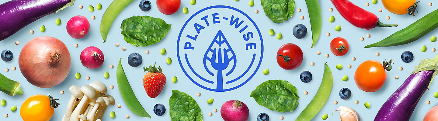 Plate-Wise blog logo with fruits and veggies surrounding the logo.