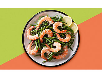 Plate with Green Beans and Shrimp
