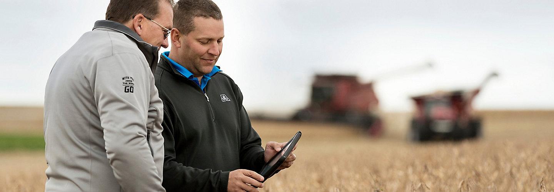Reading tablet in soybean harvest field