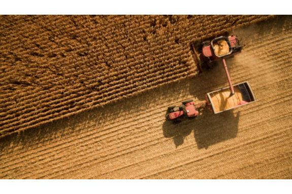 Arial photo - harvesting in field