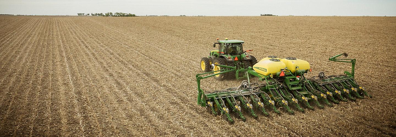 Planting soybean field