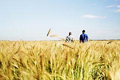 2 men in wheat field