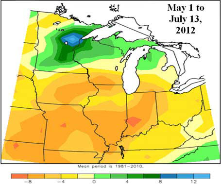 Accumulated precipitation departure from mean for the period of May 1 to July 13, 2012.