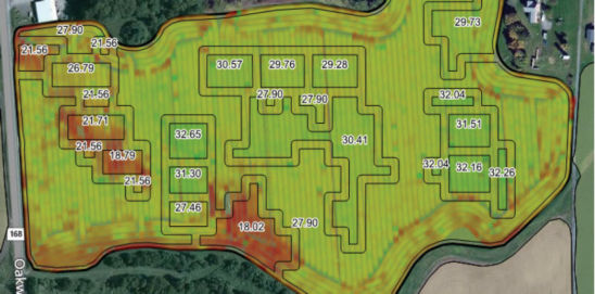 Map showing silage yield for VRS study field.
