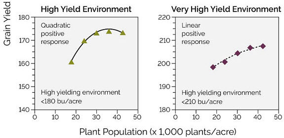 Chart showing corn hybrid response to plant population under high and very high yield environments.