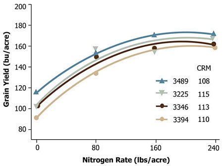 Average grain yield response of four Pioneer brand hybrids to N application rate across six environments (1993-1994)
