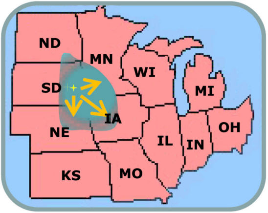 map showing diapausing variant of the northern corn rootworm