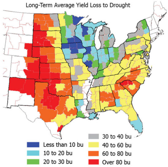 Map: Long-term average yield loss to drought (U.S.)
