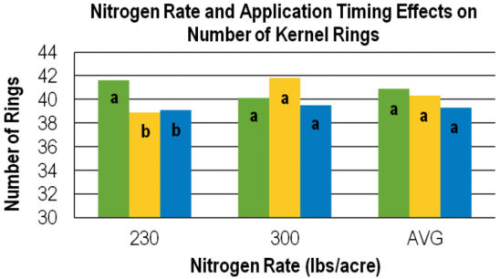 Nitrogen Rate and Application Timing Effects on Number of Kernel Ratings