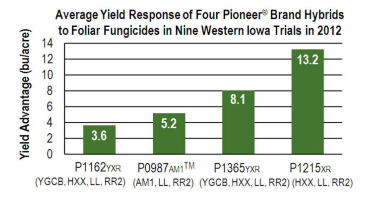 Chart: Average Yield Response of Four Pioneer Brand Hybrids to Foliar Fungicides in Western Iowa Trials