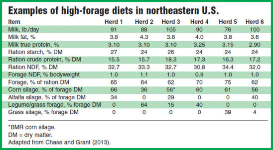 Examples of high-forage dairy livestock diets in northeastern U.S.