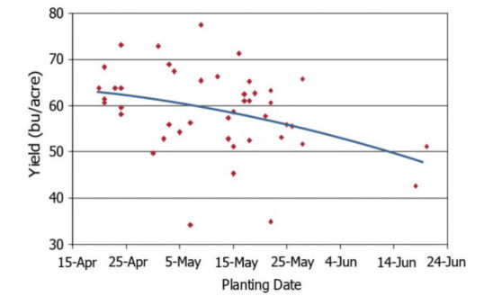 soybean yield response to planting date