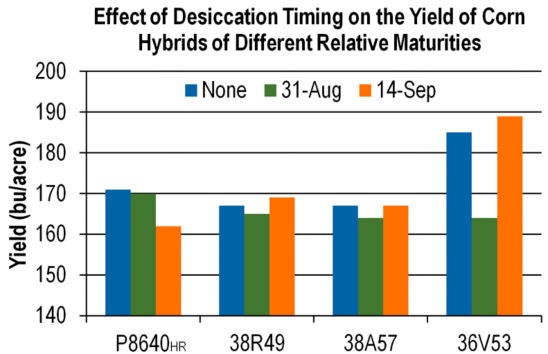 Chart: Effect of Desiccation Timing on the Yield of Corn Hybrids of Different Relative Maturities.