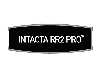 Logotipo da tecnologia Intacta, escrito em branca em um fundo preto.