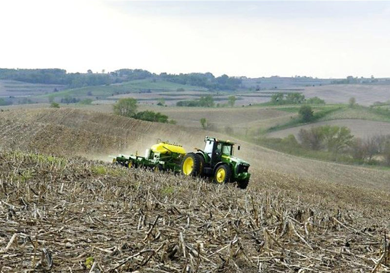 Planting no-till soybeans into heavy corn residue.
