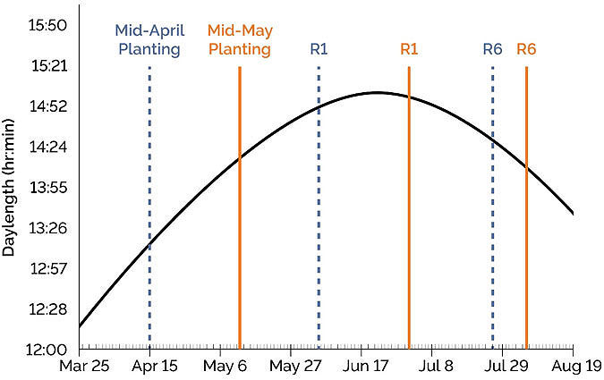 This chart shows R1 and R6 growth stages dates for soybeans planted in mid-April and mid-May near Pittsburg, PA.